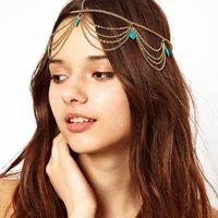 FD001 foreign trade manufacturer Europe Folk customs Bohemian turquoise tassel hair band hair accessories