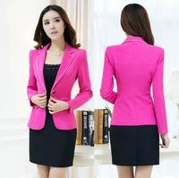 Plus Size 4XL New 2014 Fashion Slim Autumn Winter Uniform Style Blazer Suits For Ladies Office Work Wear Beautician Uniforms Set