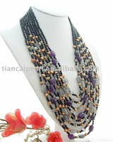 Free ship!!! Amazing!!!natural black agate&pearl&amethyst stone multi strands necklace