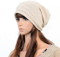 2014 New Unisex Winter Plicate Baggy Beanie Knit Crochet Hat Oversized Slouch Cap 5 colors can be selected