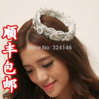 100% handmade lace round tiaras Gorgeous crystal wedding crown tiaras wedding dress hair accessories