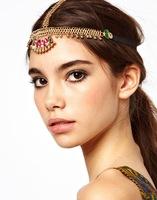 FD026 foreign trade manufacturer Europe Folk customs Bohemian turquoise tassel hair band hair accessories