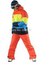 Free shipping 2014 New hot mens rainbow square grid snowboard jacket multicolor boxes ski jacket men waterproof breathable warm