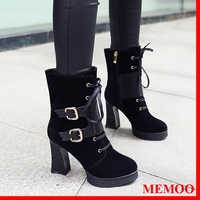 MEMOO 2014 Size4-8 Women Boots Fashion Mid-Calf Solid-Color Flock Matte Winter Autumn Round Toe Zips Cool  A8672