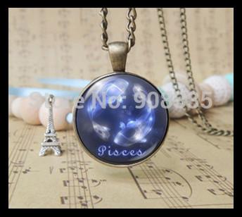 Blue Gemini cancer necklace 12 zodiac symbol Nebula Necklaces fashion Astrology galaxy constellation sign art jewelry 12pcs 1309(China (Mainland))