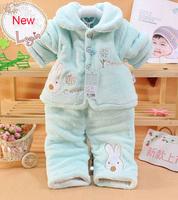2014 Spring Autumn Clothing Set Baby Velvet Suit WinterCartoon coat+pants 2 Pieces Children Boys Girls Kid Clothes 0-2T