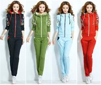 New 2014 autumn women clothing XL XXL set sport suit women 2 pieces set women fashion sweatshirt+pants