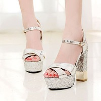 2014  women shoes woman platform sandals open toe thick heel high heel shoes  embossed leather sandals shoes Rhinestone
