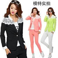 Free Shipping New Korean three-piece set lace patchwork women fashion leisure suit