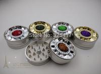 Free shipping 6pcs/lot (dia 5.3cm) 2-layer Metal herb grinder Tobacco Grinder Machine manual Gift Promotion GR027