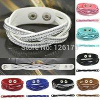 New Fashion Crystal Multilayer Leather Bracelets Bangles Womens Wrap Charm Bracelet 14 Color Choices