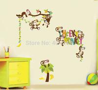 "Free Express 140x100cm (55""x39"") Cute Cartoon Playful Monkey Paradise Stickers Wall Decals Home Decors Decorative DIY"
