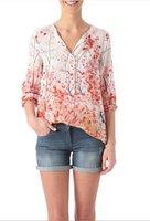 2014 Autumn New Women Wintersweet Pattern Prints Long Sleeve V-neck Shirt,Ladies Casual Loose Blouse c514