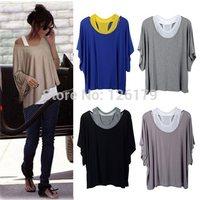 2014 Brand New Lady Women's Loose Tops Batwing Shirt Casual Blouse + Tank Vest 4 Colors S M L XL XXL