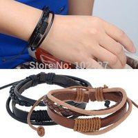 Leather Bracelet Mens Wrap Multilayer Bracelet & Bangles Braided Rope Wristband Jewelry Cuff Bracelet Pulseira Masculina Couro