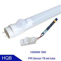 1.2meter 18W T8 PIR LED Tubes motion sensor 1800LM AC85-265V  SMD2835 2700-6500k Aluminum Alloy+PC Cover Free Shiping 50pcs/lot