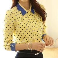 Blusas Feminina 2014 Camisa Chiffon Women Blouses Ladies Casual Long Sleeve Blusa Chifon Polka Dot Print Top Blouse Formal Shirt