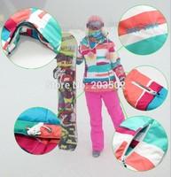 2014 new womens color stripes ski jacket waterproof snowboarding jacket ladies skiing jacket skiwear anorak blue red white