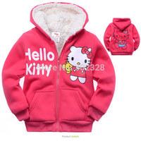 Children outerwear Hello kitty thickening lamb flocking Sweater Fleece hoodies winter sportswear girl Hoodies coat hoody jacket