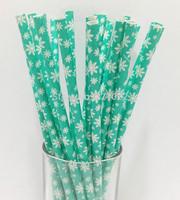 250pcs kids children birthday wedding party decoration supplies Aqua white snowflakes Drinking Paper Straws for Christmas