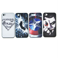 cute cartoon Superman Batman Captain America clown pattern Cover case for apple iphone 4 4s PT1394