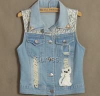 Free shipping 2014 NEW hot Women's CAT denim jean vests, women  turn-down collar  Lace sleeveless  jacket outwear,M-XXL