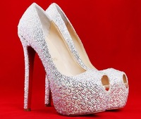 Sexy thin high platform heels peep toe red sole genuien leather pumps wedding shoes with rhinestone  plus size  Eur size 35-42