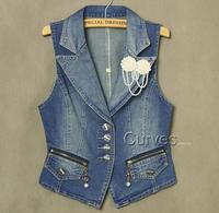 2014 FREE SHIPPING Women's Denim Vest ,Women's Fashion Jeans Coat Plus Size,Casual Sleeveless Denim Jeans Waistcoat,M-XXXL