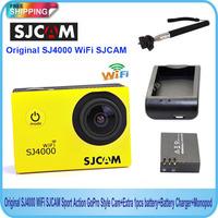 Free shipping!Original SJ4000 WiFi SJCAM Sport Action GoPro Style Cam+Extra 1pcs battery+Battery Charger+Monopod
