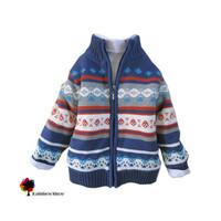 New Children Clothing Autumn Winter Boys Thick Warm Sweater Coat Eurapean Style Jacquard Cotton  Outwear