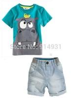 New Hippo cartoon boy baby Boys Summer Clothing SetscBoys Brand Clothing Set Kid Apparel T-shirt+Shorts