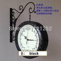 Free shipping Fashion iron wall clock double faced clock double faced clocks mute movement