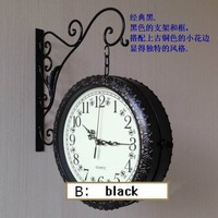 Free shipping Fashion iron wall clock double faced clock double faced clocks mute movement