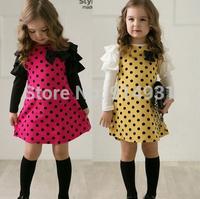 2014 new autumn /spring girls polka dot dress long-sleeve kids clothes girls princess dress