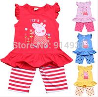 Retail cute pig Cartoon Print girls suit summer set tutu lace dress+pant clothing set retail christmas rose fashion 2014