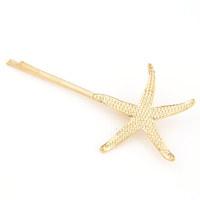Free Shipping!Newest korean Fashion individuality Brand Shells Starfish Golden Metal Women Hairpin Jewelry Hair Accessory E020