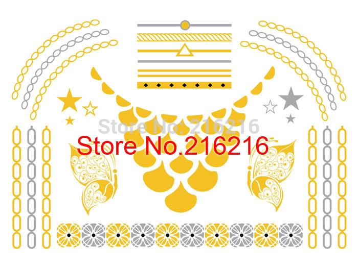 Temporary Metallic Flash Tattoos / Gold / Silver / Skin Jewelry(China (Mainland))