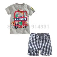 2014 summer boy new cotton short sleeve T-shirt + handsome plaid shorts leisure fashion suits