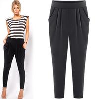 New Summer 2014 Fashion Women Solid Black Loose Style Trousers Leisure Pants 4XL 5XL Casual Large Plus Size Capris Harem Pants