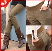 Women Winter Pants 2014 Women Autumn And Winter Skinny Khaki Pants Fahion Heavyweight Plus Size Pencil Legging Pants Trousers