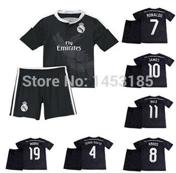 Black Dragon! 3D black Real Madrid home white kids away pink soccer kits. Best JAMES, Ronaldo, Bale, Ramos children gift