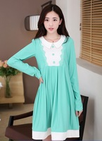 2014 new fashion autumn and winter long Sleeve dress 0-neck for pregnant women