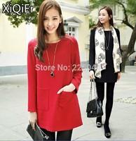 2014 new fashion spring autumn long sleeve 0-neck dress shirt for pregnant women
