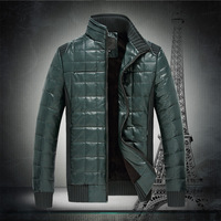 Leather Jacket Men winter plus thick velvet coat jacket PU Phi clothing casual business collar British thermal generation of fat