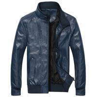 Leather Jacket Men Korean new men's winter plus velvet thick leather collar leather jacket men's leather casual wave of men