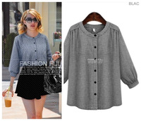 new fashion spring autumn cotton plaid plus size women casual blusas femininas t shirt women blouse 2014