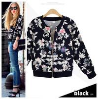 New fashion Spring Autumn Long sleeve Plus size Vintage Print casual short jacket Women cardigans coat 2014