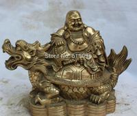 """15"""" Chinese Brass Seat Dragon tortoise Turtle Happy Laugh Maitreya Buddha Statue"""