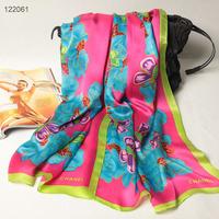 122061 2014 Newest Women's brand Georgette Satin scarf, 100% Silk scarves, rectangle silk scarf, Free Shipping,  Muslim Hijab
