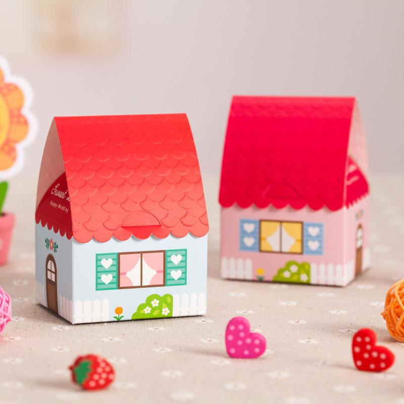 frete grátis 30 pcs/lote doces de papel e lanche saco presente criativo telhado vermelho casa de papel para fontes do casamento(China (Mainland))